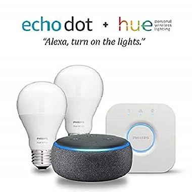 Echo Dot (3rd Gen) - Charcoal with Philips Hue White Smart Light Bulb Starter Kit