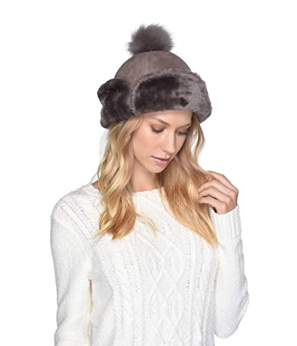 UGG Women's Up Flap Water Resistant Sheepskin Hat Stormy Grey One Size ()