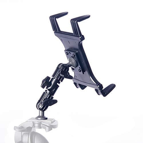 Tablet Mount for Tripod - TACKFORM [Enduro Series] - All Metal Arm - Automotive Grade ABS Spring Loaded Cradle - 1/4 x20 Screw Thread - Compatible with iPad, Galaxy and More. Commercial Grade Parts