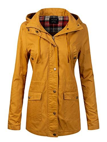 - Instar Mode Women's Anorak Safari Hoodie Jacket up to Plus Size Mustard L
