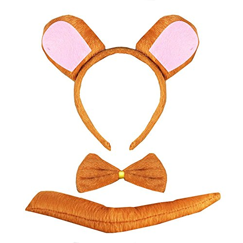 Brown Bear Costume Ears (3PCS Animals Cute Headband Party Costume, Ear with Tail Tie (Bear))
