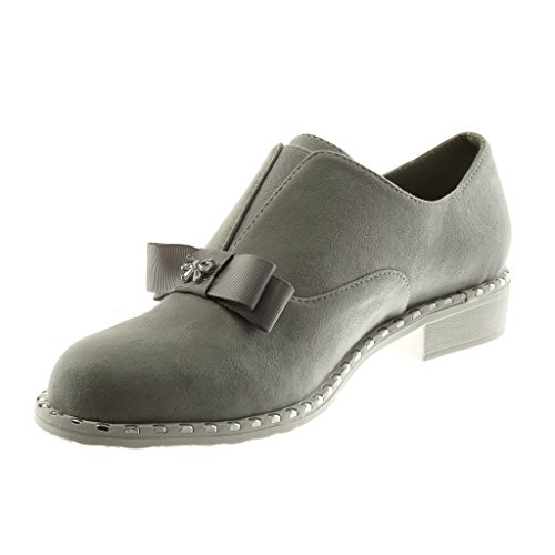 Jewelry Angkorly cm Grey Mocassins Zip Node Fashion Women's Knot 3 Shoes Block Heel xYrPqpB7Yw