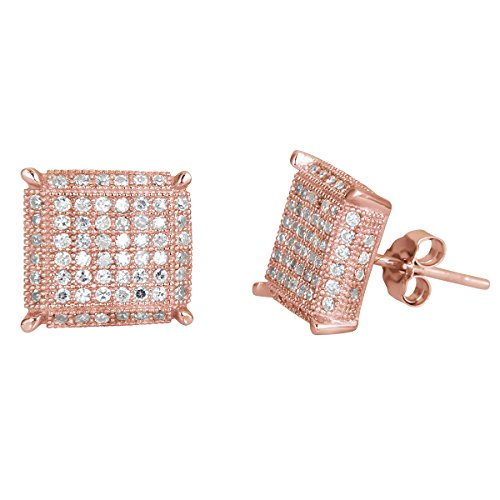 Sterling Silver 8x8 Micropave 3D Square Stud Earrings (rose-gold-and-sterling-silver)