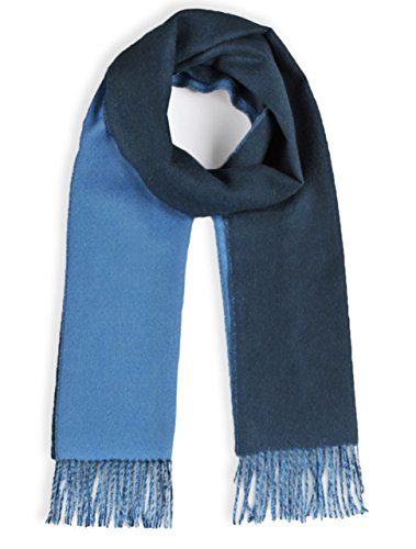 Baby Wool Natura Pure (Alpaca Scarf - 100% Pure Baby Alpaca - Double Sided Contrast Scarf (Blue / Lt Blue))
