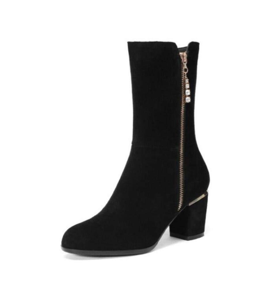 Black Women Fashion Suede Knight Boots 2018 Autumn Winter Rhinestone Zipper Knee Boots Ladies Round Head Low Heel Boots