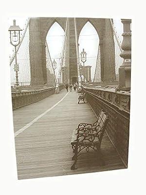 Desconocido Cuadro Plotter Canvas Madera Grande Banco Puente New York Blanco Y Negro: Amazon.es: Hogar
