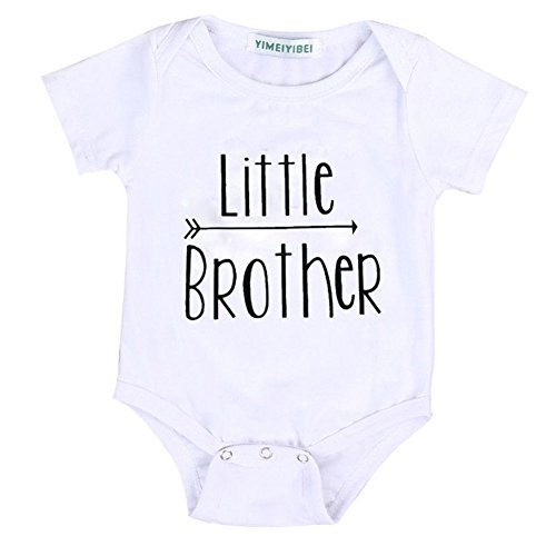 Summer Kids Baby Boy Little Brother Romper& Big Brother T-Shirt Tops Matching Shirts (0-3 Months, Little Brother)