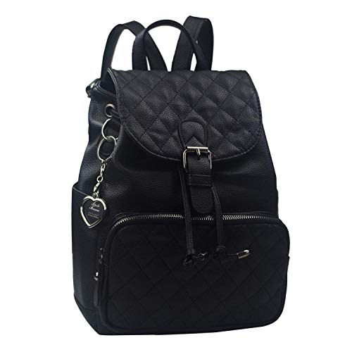 Alice Fashion Women Suture Rhombic Backpack Waterproof Anti-theft Lightweight PU Leather Shoulder Diagonal Bag Travel Ladies Purse(black)