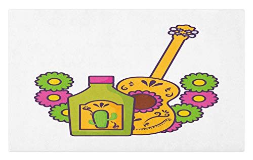 Ambesonne Tequila Doormat, Folkloric Flourish Damask Theme Drink Bottle with Mexican Guitar Cartoonish Design, Decorative Polyester Floor Mat with Non-Skid Backing, 30 W X 18 L Inches, Multicolor ()
