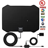 TV Antenna, ZetHot [2018 UPGRADED - With UL Adapter] 60 to 80 Mile Range Amplified Indoor HDTV Antenna with Advanced Amplifier Signal Booster and 16.5FT Coax Cable for Digital Freeview