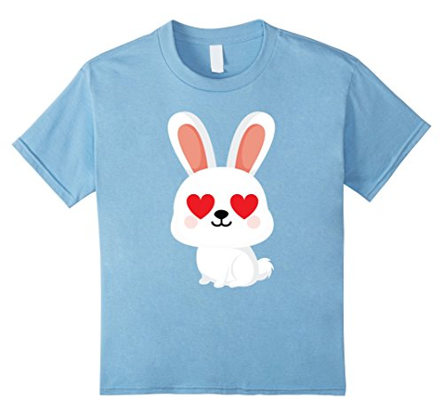 Kids Bunny Emoji Love & Heart Eye Shirt T-Shirt Tee 12 Baby Blue