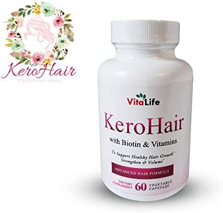 KeroHair Hair Growth Vitamins, Kerotin Formula for Women and Men (60 Capsules) Natural Strength and Volume Supplement with Biotin | Reduce Split Ends, Breakage | Restore Radiance| Kerotin Formula