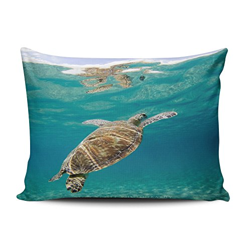 ONGING Decorative Pillowcases Brown and Blue Tiffany The Green Turtle Customizable Cushion Rectangle Boudoir Size 12x18 inch Throw Pillow Cover Case Hidden Zipper One Side Design Printed