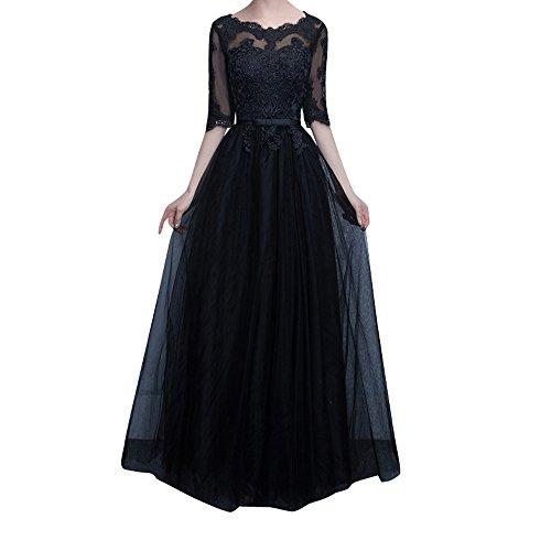 Schwarz Spitze Brautmutterkleider Abendkleider Mutterkleider mit Hundkragen Navy Ballkleider Charmant Damen Blau Langarm CqAPI
