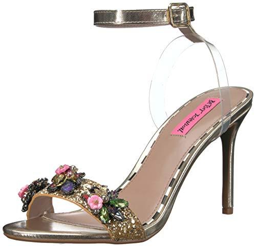 Betsey Johnson Women's Alyna Heeled Sandal, Gold Multi, 7 M - Multi Gold Heels