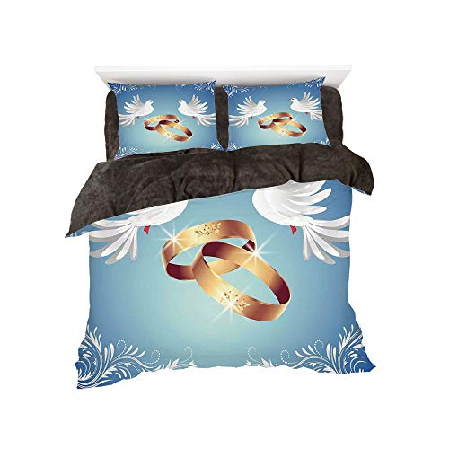 The Bed Duvet Cover Set 3D Printed for Bed Width 4ft Pattern by,Wedding Decorations,Card Inspired Design with Floral Ornaments Two White Birds Rings,Blue Gold White ()