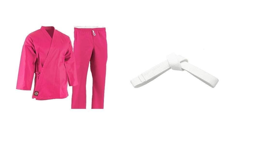 Pro Force 6 oz. Karate Uniform (Elastic Drawstring) - 55/45 Blend - Pink (000)