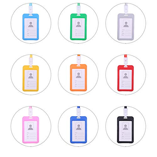 Softmusic Name Tag Lanyard,Portable Colorful Neck Strap Hanging ID Card Holder Red by Softmusic (Image #5)