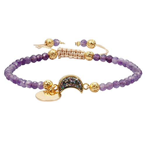 TUMBEELLUWA Beads Bracelets Faceted Stone 4mm Healing Crystal Bracelet Half Moon Shape Druzy Adjustable Handmade Jewelry for Women,Amethyst