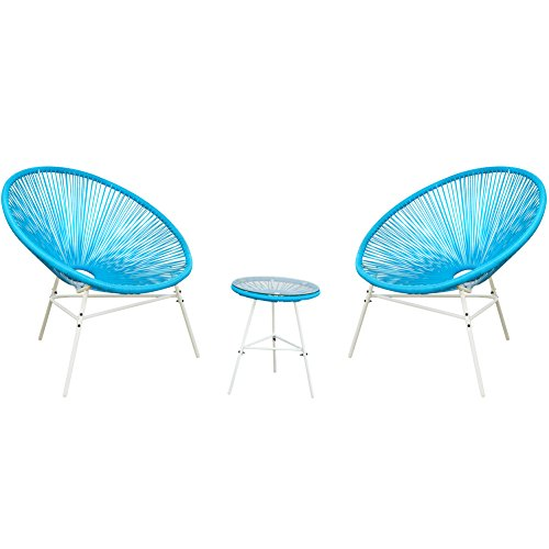 - PatioPost 3 Piece Outdoor Acapulco Sun Weave Lounge Patio Chair with Top Glass Table, Blue