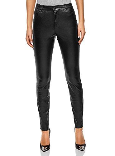 oodji Ultra Womens Slim-Fit Faux Leather Trousers