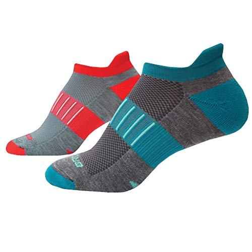 Brooks Ghost Midweight Running Socks 2 Pack Asphalt/Pacific + Ash/Coral Size Large