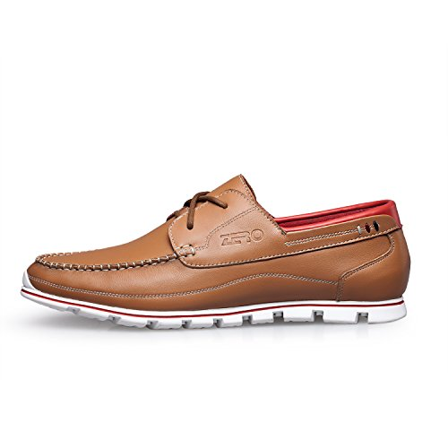ZRO Men's Premium Genuine Leather Oxford Shoes Lace Up Casual LIGHT BROWN US 8.5 by ZRO (Image #2)