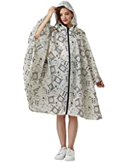 Women's Stylish Polyester Waterproof Rain Poncho Free Size Colorful Raincoat Hood Zipper