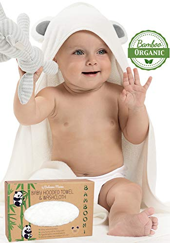 Premium Baby Hooded Towels and Washcloth Set - Organic Bamboo Hooded Baby Towel with Cute Ears - Extra Soft and Thick - Large Baby Bath Towel with Hood for Boy or Girl   Newborn Infant and Toddler ()