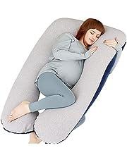 MOON PINE Pregnancy Pillow, U Shape Full Body Pillow for Maternity Support, Sleeping Pillow for Pregnant Women (Blue&Grey-Velvet&Jersey)