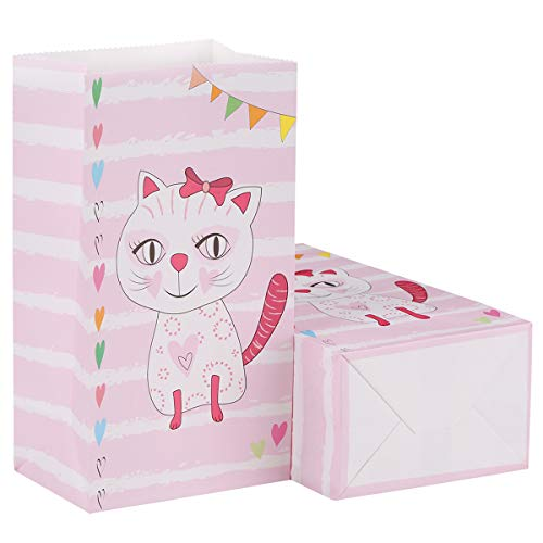 Aresmer Cat Party Bags Party Favor Bags for Kids Cat Themed Party, Pack of 24