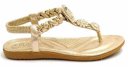 Damen SHU Gold Diamante Spitze Flache N91 CRAZY Gladiator Sommer Mode Sandalen Damen Schuhe xXrw7Eqr