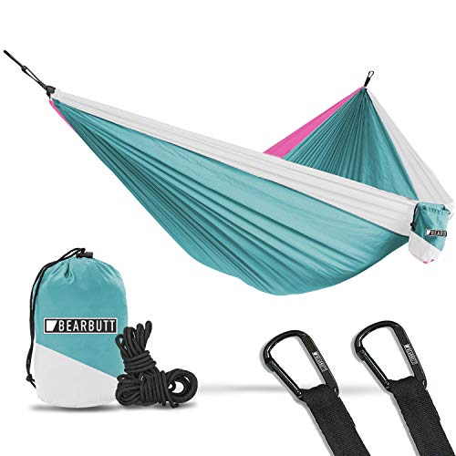 Bear Butt Double Parachute Camping Hammock, Sky Blue / Pink / White (Doublenest Pink Eno Hammock)