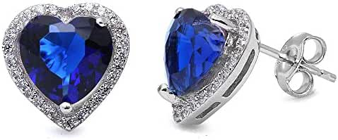 Simulated Blue Sapphire Heart & Cubic Zirconia Studs Style .925 Sterling Silver Earring
