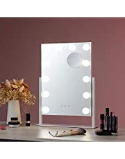 CO-Z Lighted Vanity Mirror Hollywood Makeup Mirror with Dimmable LED Lights with Touch Control and 10x Magnification Detail Mirror for Vanity Table Bedroom Night Stand Desk or Dresser