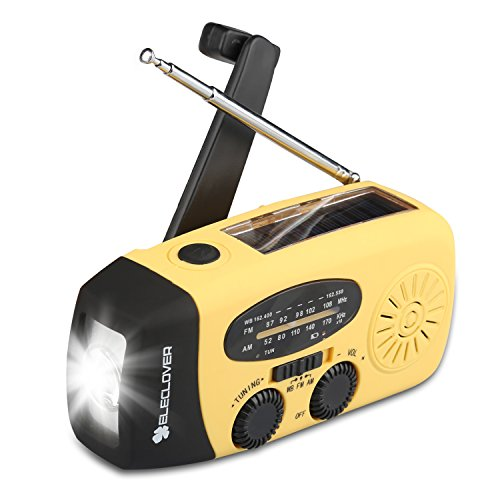 [Upgraded Version] ELECLOVER Portable Dynamo Emergency Solar Crank AM/FM/NOAA(WB) Weather Radio with LED Flashlight, Cell Phone Portable Charger, Yellow