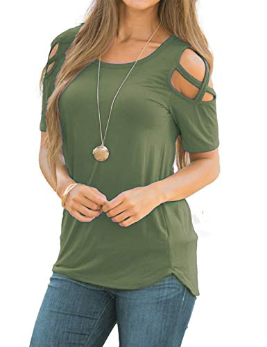 - Women's Casual Tunic Top Short Sleeve T-Shirt Criss Cross Cold Shoulder Strappy Tops Green S
