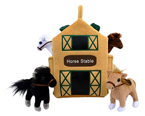 "ADORE 12"" Horse Stable Barn Plush Stuffed Animal Playset Car"