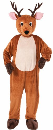 Forum Novelties Men's Reindeer Plush Mascot Costume, Brown, One Size(Fits up to Chest size 42) (Reindeer Adult Costume)