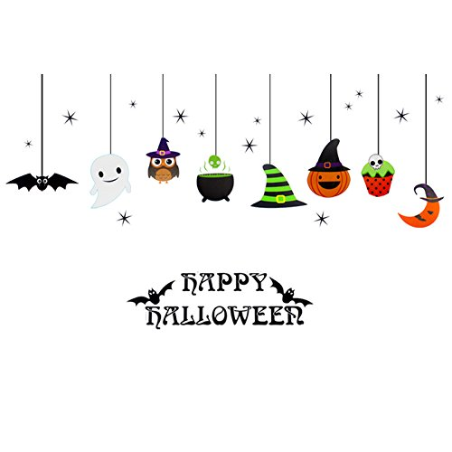 Amknn Happy Halloween DIY Wall Decal Wall Stickers Bedroom Home Window Sticker Mural Decorations for Baby Kids Room Nursery Halloween Party (Style 2)