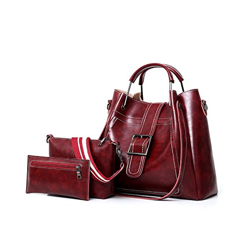 Bag 3 Bag Shoulder Bag Soft Retro Mother Wine Red Sets Handbag Women's Female New Messenger Bag of Oil Wallet Tisdaini 1qn87Awp