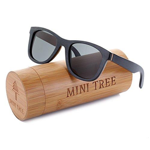 Mini Tree Women Skateboard Wood Sunglasses Polarized Men Sun Shades with Bamboo Case (Black, ()