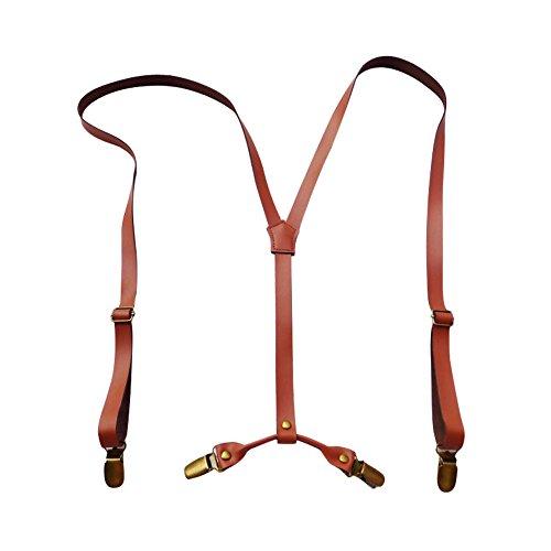 Lawevan Men and Women Y Back Design Adjustable Metal Clip Cattlehide Leather Solid Stretch Supenders for Wedding,Formal Even