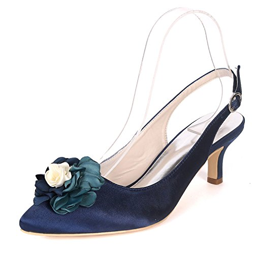Robe Chaussures Chaussures Ager Cour Heels Mid 20H UK6 1608 Escarpins Slingback EU39 Deepblue Femmes Flower Pw8Fw