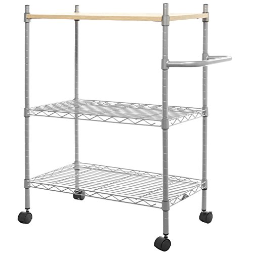 MyGift 3 Tier Metal Rolling Portable Utility Cart with Handle, Multipurpose Microwave - Shelves 4 Slant 3 Casters