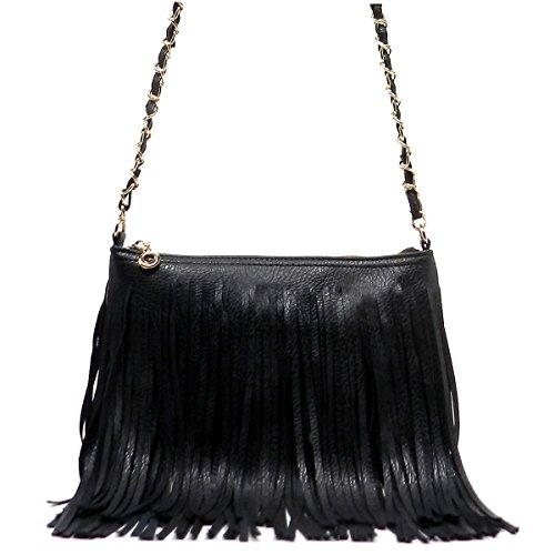 Elphis Western Vintage Fringe Tassel Chain Strap Hipster Shoulder Bag Cross Body Bag(031) (Black) - Fringe Chain