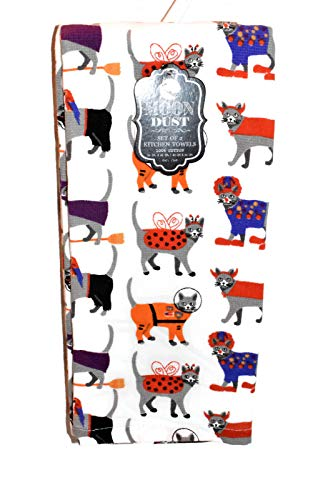 MOON DUST New 2pc Set Grey Cats Dressed in Costumes Halloween Kitchen OR Bathroom Dish Hand -
