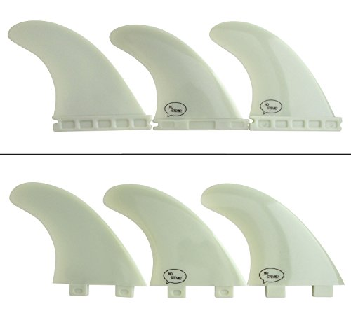 Fiberglass Reinforced Polymer Surfboard Fins - Thruster (3 Fins) FCS or Futures Sizes, Choose Color (White, FCS) - Board Fin