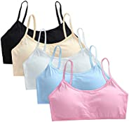 Cczmfeas Girl's Cotton Cami Bra with Removable Padding Teen Small Vest Design 5