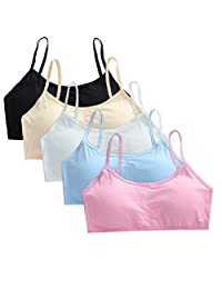 Cczmfeas Girl's Cotton Cami Bra with Removable Padding Teen Small Vest Design 5 Pack